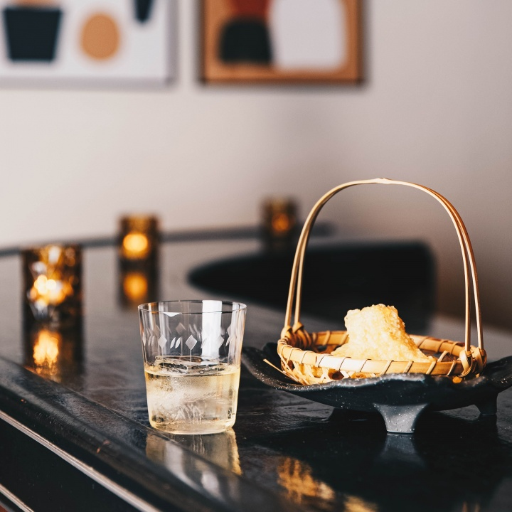 tempora shrimp with whiskey