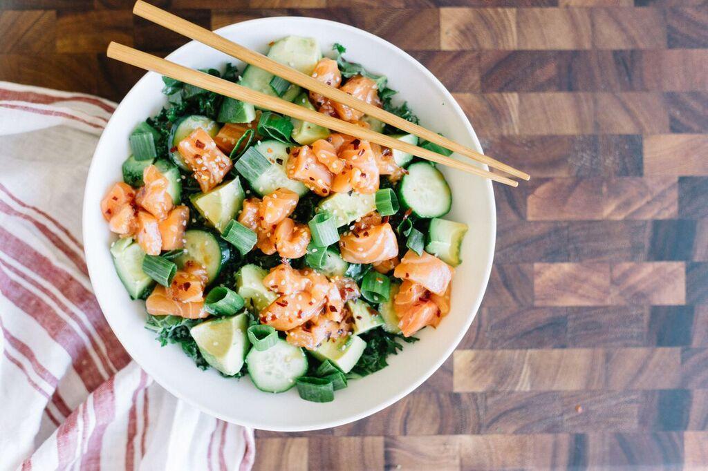 salmon avocado cucumber bowls